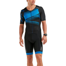 2XU Perform Full-Zip Sleeved Trisuit Herren black/signal blue print